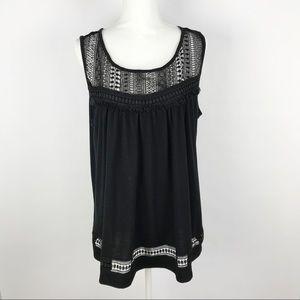 Lane Bryant Black Crochet Lace Sleeveless Blouse